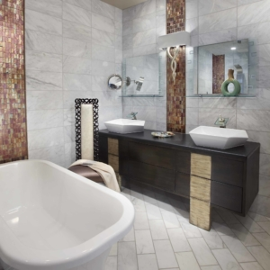 Bathroom with white tiled floors and walls and a claw-foot bathtub