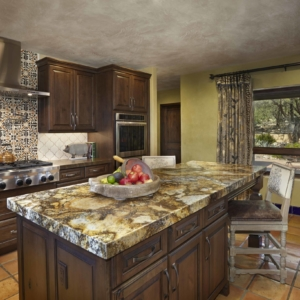 Big kitchen island with marble countertop