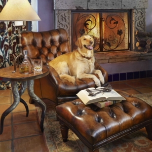 Leather chair in front of fire place with golden retriever sitting on it