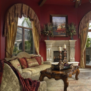 Living room with red walls and Persian window coverings